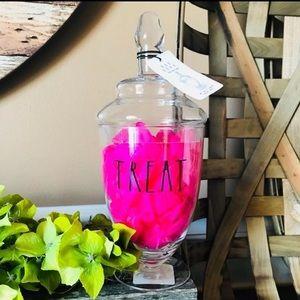 "New!! Rae Dunn glass jar with lid ""TREAT"""
